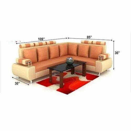 Orange L Shaped Sofa Set