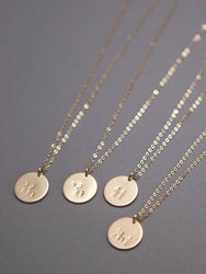 Gold Vermeil Stick Family Disk Necklace