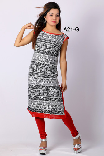 Formal Red And Black Cotton Printed Designer Kurti