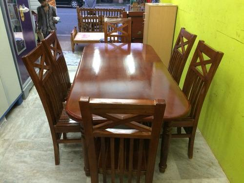 Teak Wood Dining Table Set With 6