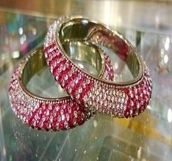 Pink And White Small Stone Bangles