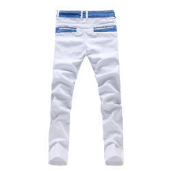 Cotton/Linen White Men's Stylish Pant, Size: Large