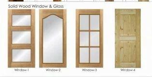Solid Wood Window Glass Pu Coating Kitchen Door