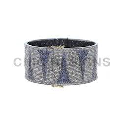 Blue Sapphire Gemstone Bangle Bracelet