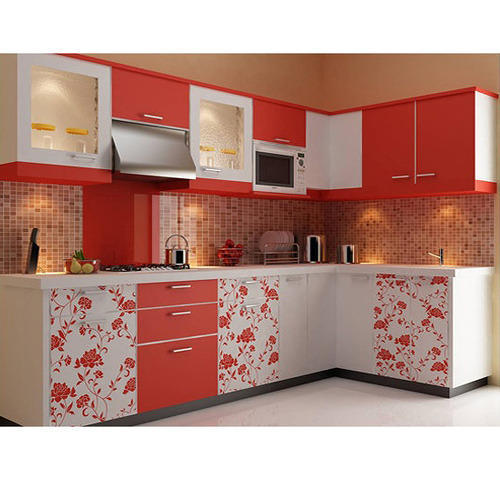 L Shaped Modular Kitchen A Raza Interiors  Manufacturer of Wooden