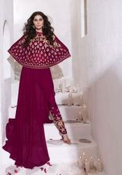 Magenta, Party Wear Indo- Western Salwar Kameez