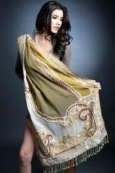 Yellow Embroidered Shawl