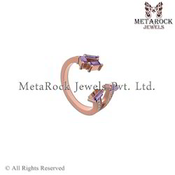 14k Rose Gold Amethyst Gemstone Baguettes Ring