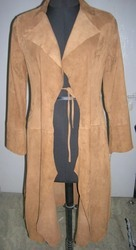 Suede Long Leather Coat
