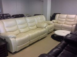 Classic Furn 5 Seater White Leather Recliner Sofa