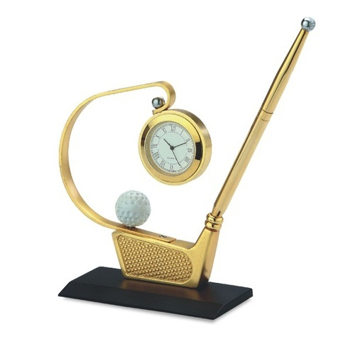 Pen Stand with Clock, Size: 114 X 43 X 112 Mm