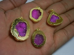 Electroplated Cup Druzy Pendants