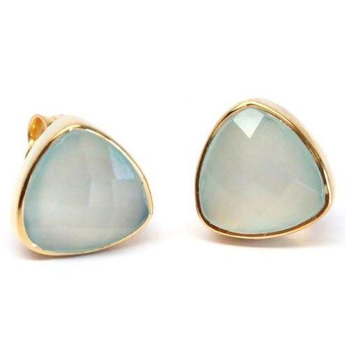 Aqua Chalcedony Trillion Stud Earring