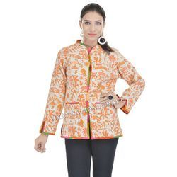 Cotton Floral Print Hand Quilted Jacket