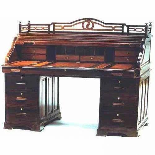 Brown Wooden Antique Roll Top Desk Collectors Corner Id