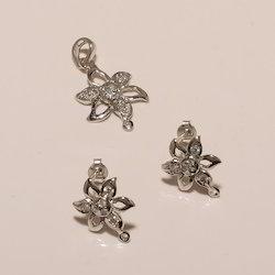 Sterling Silver Plain Earring Pendant Set 3.46