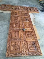 Teak Wood Carved Temple Door With Panel