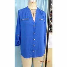 Blue Cotton Viscose Shirt