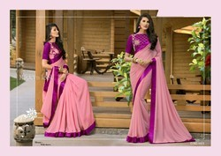 Silk Plain Saree With Embroidered Blouse, With Blouse Piece