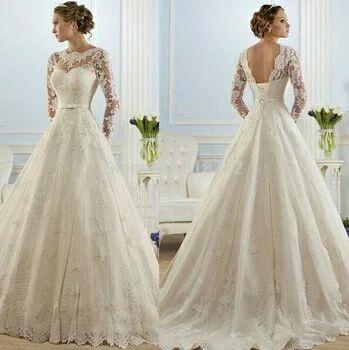 Line Full Sleeves White Wedding Gown