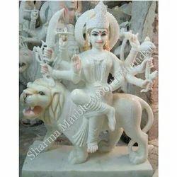 Durga White Marble Statue