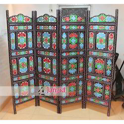 Jangid Art & Crafts Hand Painted Wooden Furniture Screen for Commercial