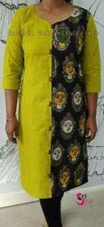 Handloom Cotton With Kalamkaari Face Print Kurti