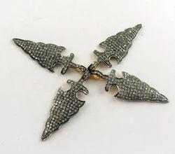 Cubic Zirconia Pave Arrowhead Charm Pendant