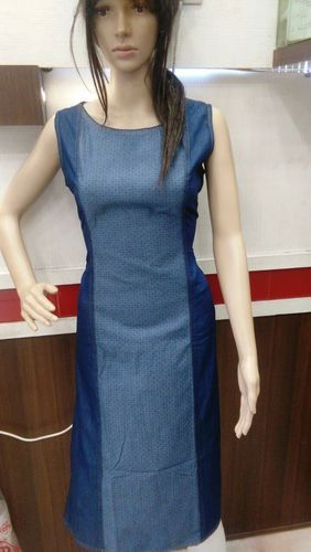 477447fea47 Party Wear Plain Blue Denim Kurti