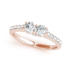 1.00Ct Real Natural Engagement Diamond Ring in Rose Gold