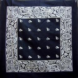 Black Paisley Printed Cotton Bandana