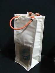 Eco Plastic Window Recycled Organic Canvas Wine Bag