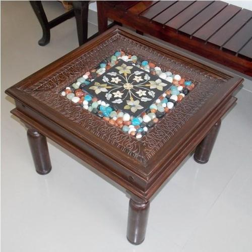 Marble Top Coffee Table India: Tiles Stone Mosaic Work Coffee Table, Ethnic Furniture