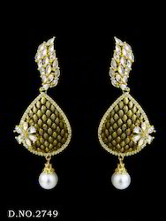 Antique American Diamond Pearl Earring