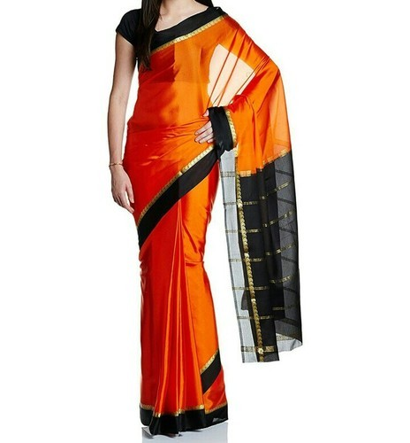 5917099467f Orange Contrast Black Mysore Silk Sarees