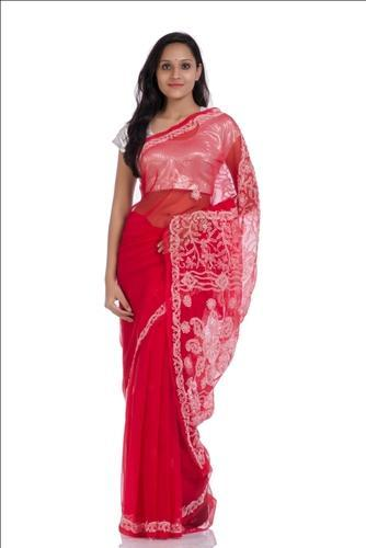 Red Chikan Embroided Lucknow Chikan Embroidered Georgette Saree, With Blouse Piece