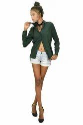 Bottle Green Chiffon Ladies Shirts And Tops