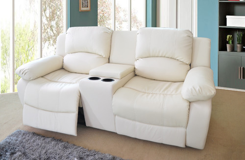 Wooden White Two Seater Recliner Sofa