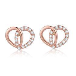 Heart Shape Real Diamond Earring In 14k Rose Gold