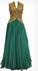 Peacock Blue Pleated Gown