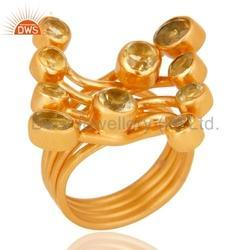 Citrine Ring Jewelry Gold Plated 925 Silver Jewelry
