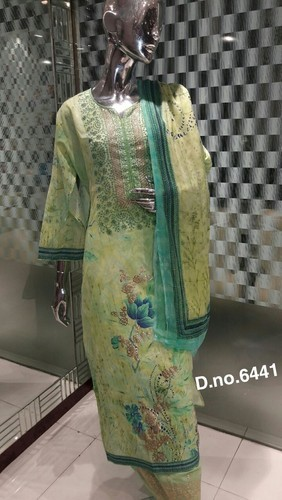 Party Wear Printed Designer Cotton Dress Material