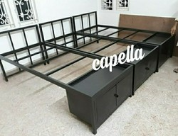 Polished Steel Cot Bed