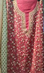 Meraki Arts Pink (May Vary) Kashmiri Cotton Embroidered Suit