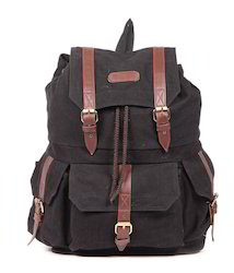Dark Brown Canvas Backpack Bag