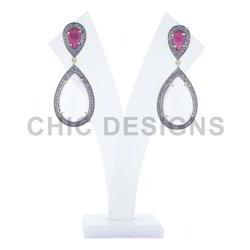Rose Quartz Ruby Diamond Earrings