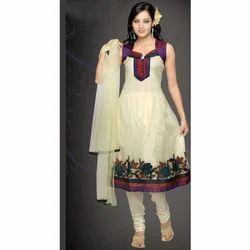 Cream Anarkali Embroidered Ladies Suit