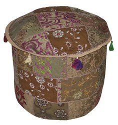 Indian Vintage Ottoman Pouf Cover, Patchwork Ottoman