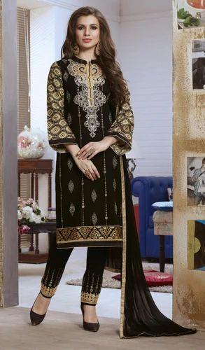 Black Party wear Unstitched Churidar Suit, Handwash