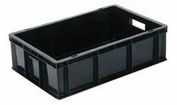 Black Rectangular Plastic Crates